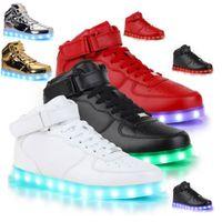 высокая обувь студент оптовых-Led обувь человек USB загораются унисекс кроссовки любителей для взрослых мальчиков случайные студенты Спорт светящиеся с Мода высокие верхние огни Совет обувь