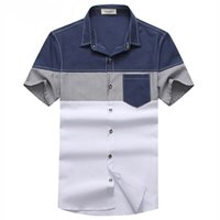 Wholesale Men Casual Shirts White - Wholesale- New Model Men Summer Breathable Shirts Plus Size M-3XL Patchwork Short Sleeve Style Man Casual White Tee Shirts