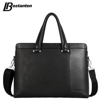 Wholesale Bostanten Briefcase - Wholesale- Bostanten Genuine Leather Men Bag Fashion Brand Business Laptop Men Handbag Famous Brand Designer Male Shoulder Bag Briefcase