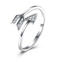 Wholesale 925 Sterling Silver Rings Arrow - Christmas Gift 925 Sterling Silver Arrow Resizable Ring Natural White Cubic Zirconia Wedding Engagement Promise Ring SVR089