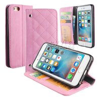 Wholesale Plaid Iphone Case - For iPhone 6 Plus PU Leather Plaid Grid Wallet Case For iphone 5s SE Case With Magnetic Closure Cover Case 50PCS OPP Package