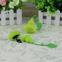 Wholesale Wholesale Calabash Gourd - Cute Gourd Shaped Tea Strainer New Arrivel Silicone Small Calabash Tea Infuser Filter Diffuser Multicolor Randomly Send