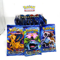 Wholesale Paper Gift For Boys - Pikachu Game Charizard Venusaur Blastoise Sun&Moon For children Gift English Card evolutions English Edition Anime Card 324pcs=36bags