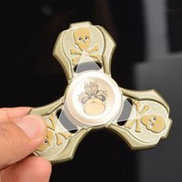 Metallo Retro Skull Spinner In lega di zinco Tri-Spinner Lavorato a mano Filatore a mano Fidget Spinners EDC Decompression Fidget Toys