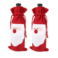 Wholesale Christmas Ornament Holders - Wholesale-1 Piece Red Wine Bottle Cover Bags Christmas Dinner Table Decoration Home Party Decors Santa Claus Festival Gift Holder