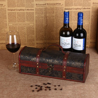 Wholesale Wooden Wine Gift Boxes Wholesale - Vintage Red Wine Box Single Bottle Storage Box Wooden Portable Vinho Champagne Gift Box Packing Container With Handle ZA3268