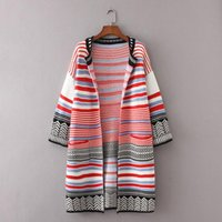 Wholesale Girls Crochet Coat - Women Knitted Cardigan Ladies Autumn Long Striped Coats 2017 Girls Loose Crochet Pocket Design Sweater Jacket Female Outwear Clothing W152