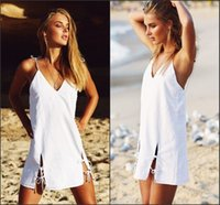 Bohemian Style Sexy Summer Beach Dresses para Mulheres 2018 Hot Selling Backless Spaghetti Straps Short Mulheres Vestuário Casual Vestidos FS2018
