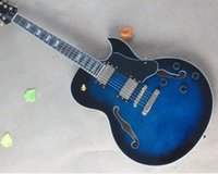 Wholesale Electric Guitar Blue Semi - Hot Sale ES-137 Semi-hollow Dark Blue Electric Guitar and Gold Hardwares and Flame Maple Veneer and Can be Changed