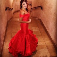 Wholesale Classic Tires - Elegant Off the Shoulder Mermaid Evening Dresses Red Sweetheart Backless Prom Party Gowns Ruffles Tired Custom Size Evening Gowns