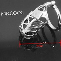 Wholesale Steel Cock Sleeves - Cock Lock Stainless Steel Lockable Penis Cage Penis Cock Ring Sleeve Male Chastity Device Cage Belt Cockring Sex Toys For Men MKC008