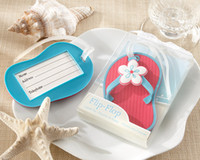 """Wholesale Wedding Favor Box Tags - Factory Directly Selling """"Flip-Flop""""cute new Beach Themed Luggage Tags Slipper Baggage Tags PVC Box Packing +FREE SHIPPING"""