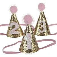 Wholesale Mini Hair Hats - Mini Glitter Baby Birthday Hat Pom Girls Boy Party Birthday Hair Accessory 1st Birthday Gift Headband