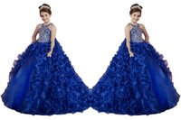 Wholesale Little Girl Dance - Luxury Removable Two Pieces Little Girls Pageant Dresses Ruffled Crystal Beads Princess Royal Blue Dance Ball Gowns Kids Party For Wedding