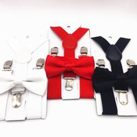 Wholesale Suspenders For Baby Boys - Wholesale-1 Sets Kids Suspenders And Bowtie Set Braces Elastic Y-back For Baby Boys Girls Red Pink Black White Blue Suspenders And Bow Tie