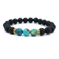 Wholesale Wholesale Fitness Charms - Wholesale-2016 Men Gift Wholesale New Arrival Black Lava Stone Natural Agate Beads Fitness Fashion Live Fit Life Stretch Yoga Bracelet