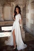 Wholesale long style bohemia dress - Bohemia Style Summer Wedding Dresses 2017 Long Sleeve A-Line Sweep Train Side Split Lace Chiffon A-Line Sheer Bridal Gowns New Design W650