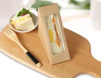 Wholesale Disposable Foldable - Creative Kraft Paper Sandwich Box Eco Friendly Disposable Cake Dessert Box Foldable Takeaway Food Package 100pcs lot