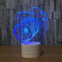3D Camera LED Illusion Lâmpada Bluetooth Speaker com 5 luzes RGB TF Card Slot DC 5V USB de carregamento Atacado Dropshipping