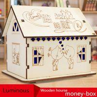Wholesale Wooden Piggy Banks - DIY Change jar Wooden cartoon Piggy Bank Lamp House Money Save Tank Cottage House Money Tank Creative gift Cute Christmas gift