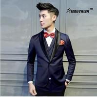 Wholesale Coat Pant Stand Collar - 2017 Latest Coat Pant Designs Tuxedo Mens Prom Suits 2 pieces (Jacket+Pant) Wedding Suit for Men Slim Fit Boys Terno Masculino