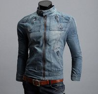 Wholesale denim coat hoodie - Big Size tops cotton Sport Men's Hoodie Jeans Jacket outerwear hooded Winter coat denim jacket coat