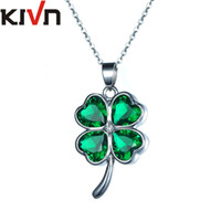Wholesale Copper Leaf Necklace - KIVN Fashion Jewelry Lucky Four Leaf Clover Shamrock Green CZ Cubic Zirconia Pendant Necklaces for Women