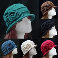 7 Solid Colors Fashion Vintage Donna Church Church Cloche Flapper Cappello Lady Bucket Winter Flower Cupola Cap