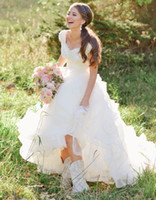 Wholesale modern western wedding dresses for sale - Group buy Cap Sleeves Wedding Dresses Modest Lace Tulle Short Sleeves Temple Bridal Gowns Buttons Back Puffy A line Country Western Wedding Gowns