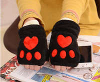 Wholesale Cashmere Fingerless Gloves Wholesale - Latest styles Fashion warm double plush half - finger cartoon Cat claws student Writing computer keyboard gloves