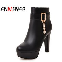 Wholesale Crystal Heels For Sale - Hot sale Crystal Shoes Woman High Heels Round Toe Platform Ankle Boots for Women Zippers Plus Size 34-45 Black Motorcycle Boots