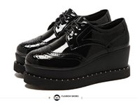 Wholesale Trendy Platform Wedges - Trendy black PU leather brogue oxfords shoes lace up platform wedge shoes size 34 to 39
