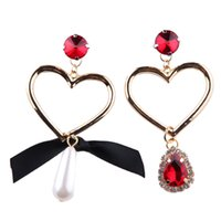 Wholesale Heart Dangle Love Red - Fashion Love Heart Crystal Statement Earrings For Women Wedding Engagement Gift Simulated Pearl Dangle Drop Earrings asymmetric Jewelry
