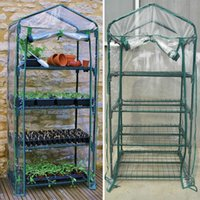 Wholesale garden sheds - New Garden greenhouses 4 tier Portable Greenhouse Novel Home Green Plants Greenhouse Shed PVC Material 69*49*155cm WX-P02
