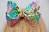 Wholesale Change Hair - Iridescent Unicorn jojo hair bow Foil Mermaid leather 6inch large Hair Bow Color Change Dance Cheer Bow 12pcs