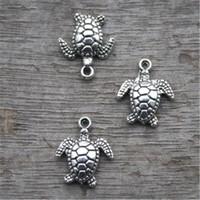 ingrosso tibetan turtle charm-20pcs - Charms tartaruga, ciondoli / ciondoli tortoise antichi tibetani in argento tibetano, tartaruga marina 15x11mm