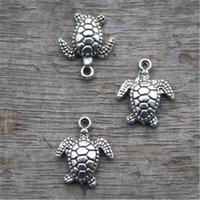 tortues de mer achat en gros de-20pcs - Charms Tortue, le ton antique argent tibétain mer pendentifs Tortoise / charmes, tortues de mer 15x11mm