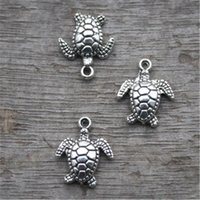 Wholesale Tibetan Silver Tortoise Charms Pendants - 20pcs--Turtle Charms, Antique Tibetan Silver Tone Sea Tortoise pendants charms, Sea turtle 15x11mm