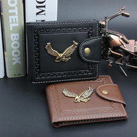 Wholesale Smoothing Card - Letter Trendy Dollar Price Notecase Eagle Pattern Short PU Leather Smooth Wallets Magnet Hasp Credit Card Holders Coin Purse for Men