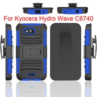 Wholesale One Touch Pc - Kickstand Hard Back Armor Cover For Kyocera Hydro wave c6740 Alcatel Fierce 4  One Touch Fierce XL PC+Silicone 3 IN 1 Anti-shock Slim