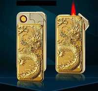 Wholesale Dragon Lighters - Wholesale- 3D Dragon Tiger Eagle Electronic Usb Cigarette Lighter Both Rechargeable and Refillable Gas Windproof Metal Lighter