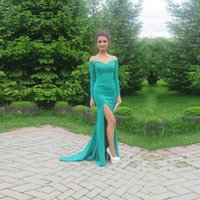 Wholesale Long Sleeve Short Dress Turquoise - Long turquoise dresses Straight Long Sleeve Sweetheart Off Shoulder Evening Gowns Side Split Sweep Train Prom Dresses