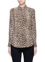 Wholesale Garments Leopard - garment factory luxury classic Leopard Print USA equipment print Q588 ladies 100% silk cdc blouse shirt with sandwash Super Vintage Wash