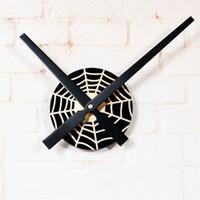 Wholesale Funny Displays - Spider Clock Web Round Black Web Clocks Funny Animal Cartoon Kids Mural Wall Art Decor Vinyl Clock Display