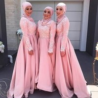 Wholesale Modest Evening Gowns For Women - 2017 Modest Muslim Dresses Vestidos Festa Evening Dresses for Women with Sleeves Lace Appliques Pink Prom Party Gowns Custom Made