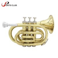 Wholesale Gold Grease - wholesale Professional LADE B Bb Brass Pocket Trumpet Tone Flat Wind Instrument with Mouthpiece Gloves Cloth Brush Grease Hard Case