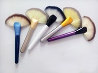Wholesale Wooden Handled Fans - Fan Shaped 7 colors Blusher Makeup Brush Professional Cosmetic kit Wooden Handle Powder Foundation Makeup Tool