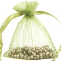 Wholesale Diy Candy Beads - 100 Pcs Olive Green Organza Jewelry Gift Pouch Bags 9X12cm ( 3.5 x 4.7 inch) Drawstring Organza Gift Candy DIY Beads Bags