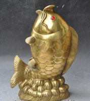 Wholesale Chinese Fish Statue - Chinese Fengshui Brass wealth carp cyprinoid Fish Goldfish animal Lucky Statue