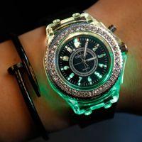 Wholesale Diamond Crystal Led Battery - Fashion Geneva Diamond Colorful Flash LED light Crystal Quartz Wrist Watch for Unisex 7 Colors Backlight Watches